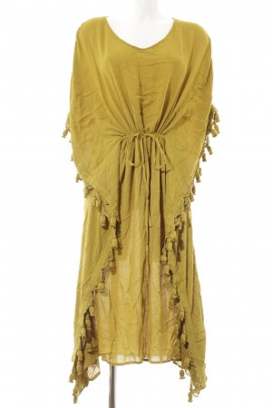 H&M Premium Fringed Dress olive green beach look
