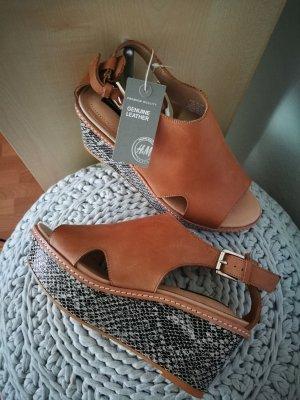 H&M Premium Leder Keilabsatz Sandalen Gr. 36 NEU