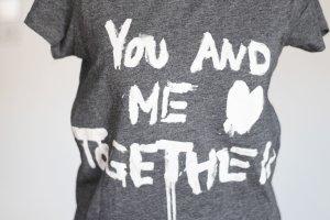 H&M Printshirt, grau meliert