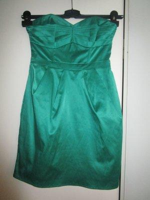 H&M Prom Green Dress 34 /XS Glänzend Bandeau Schulterfrei