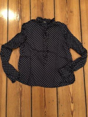 H&M Pünktchen-Bluse Polka Dots Dunkelblau Weiß Volant-Bluse Shirt H&M Trend