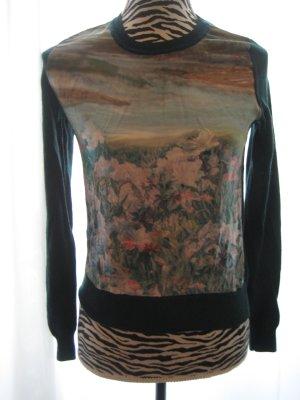H&M Jersey de cuello redondo verde oscuro-petróleo Seda
