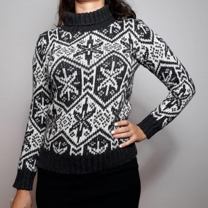 H&M Pulli Weihnachtliches Muster Damen Pullover Gr. XS 34 kuschelig warm grau schwarz weiß
