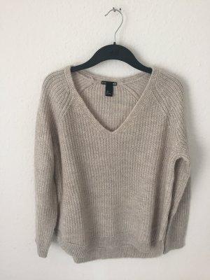 H&M Pullover Beige gerippt