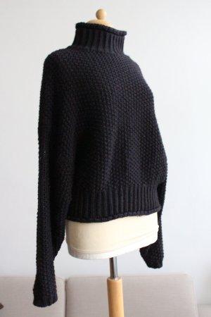 H&M Pull à gosses mailles noir tissu mixte