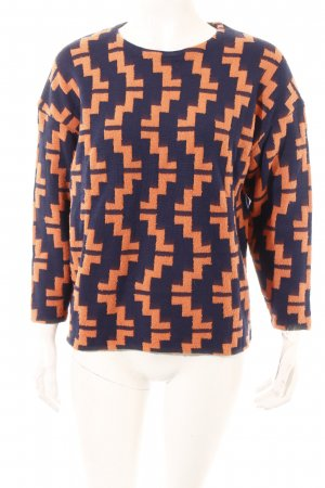 H&M Pullover dunkelblau-orange abstraktes Muster Casual-Look