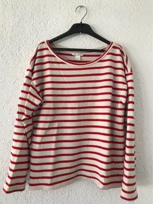 H&M Pullover gestreift, creme rot