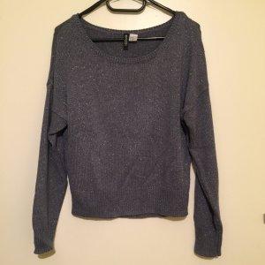 H&M Pullover in blau Glitzer