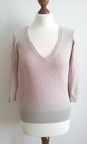 H&M Pullover in S (36/38), Beige / Nude / Sand, Feinstrick & Rippbündchen