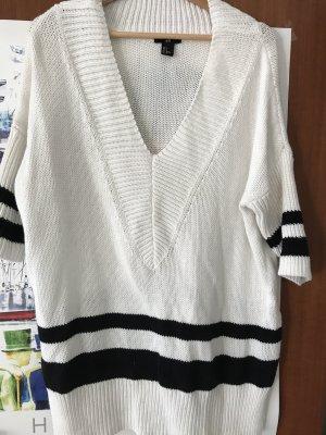 H&M Pull tricoté blanc-noir