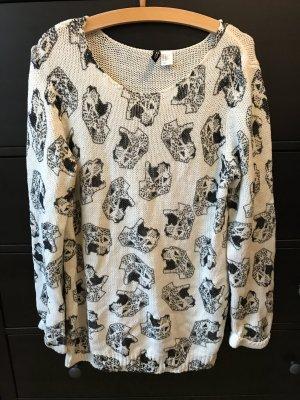 H&M Pullover mit Leoparden Köpfen M 38 weiß schwarz