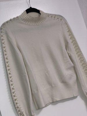 H&M Pullover mit Perlen in weiß Gr. XS