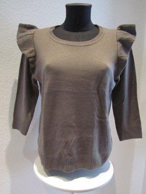 H&M Pullover mit Rüschen braun Gr. M