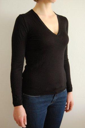 H&M Pullover mit V-Ausschnitt Merinowolle schwarz S XS
