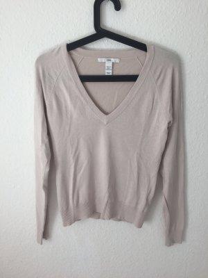 H&M Pullover mit V Ausschnitt Nude/ Rosa