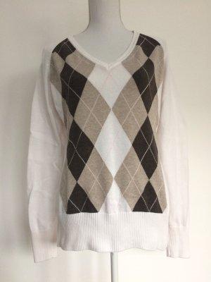 H&M Pullover Muster Rauten weiß braun hellbraun