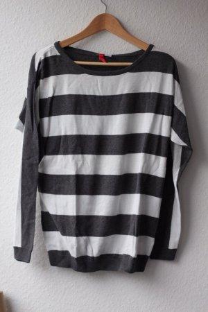 H&M Pullover Pulli Strickpullover gestreift grau Streifen