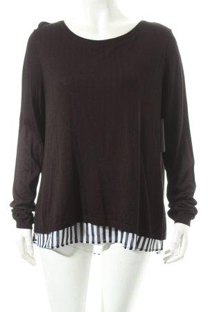 H&M Pullover schwarz-weiß Streifenmuster Lagen-Look