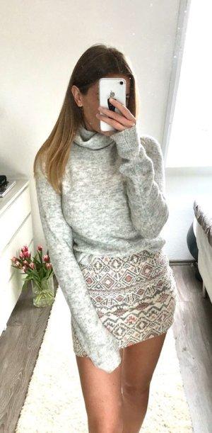 H&M Pullover Strickpullover Rollkragen Longpullover Strickkleid grau XS Oversize