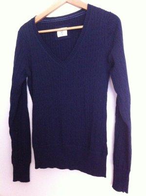 H&M Pullover V- Ausschnitt Zopfpullover M dunkelblau