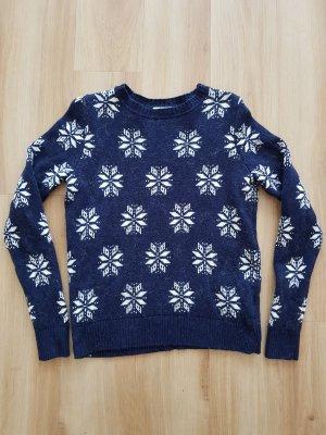H&M Pullover Wollpullover Winterpullover Norwegerpullover dunkelblau / navy / blau Gr. S *** NEU ***