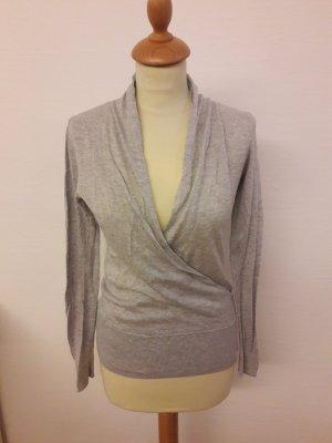 H&M Pullover XS grau Wickeloptik V-Ausschnitt