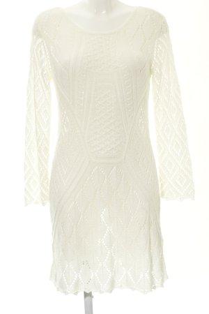 H&M Pulloverkleid weiß Lochstrickmuster Casual-Look