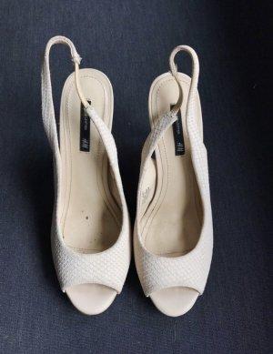 H&M Pumps High Heels Echtleder Gr. 40 Nude Beige Creme Peeptoes
