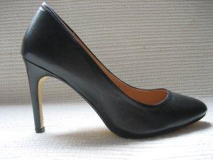 H&M pumps klassiker buero neu schwarz leder gr. 38