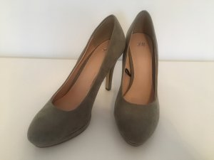 H&M High Heels khaki-green grey