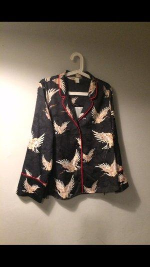 H&M Pyjama Bluse / Blazer Satin Jacke  M L neu