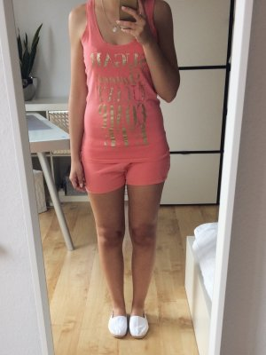 H&M Pyjama Schlafanzug Set Größe M Koralle Pink Gold Print Pailletten