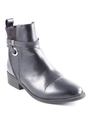 H&M Reißverschluss-Stiefeletten schwarz-silberfarben Casual-Look