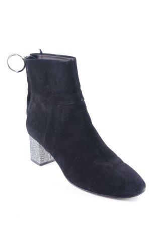 H&M Reißverschluss-Stiefeletten schwarz-silberfarben Glitzer-Optik