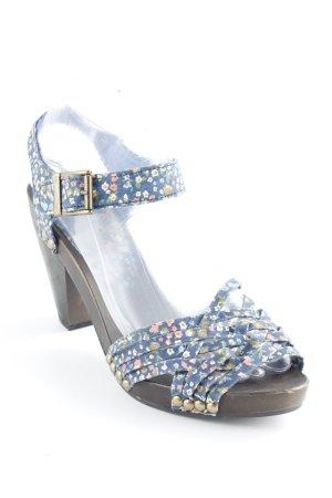H&M Riemchen-Sandaletten dunkelblau-dunkelbraun Blumenmuster Casual-Look
