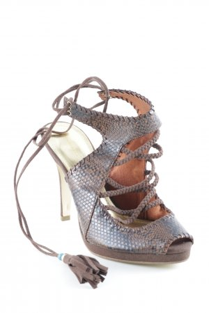 H&M Strapped High-Heeled Sandals multicolored reptile print