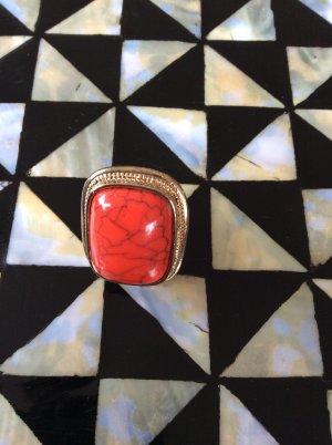 H&M Ring, rechteckig, Goldimitat, Koralle, Bijouterie