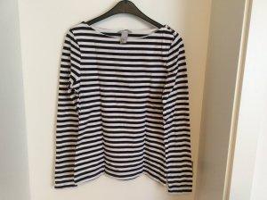 H&M T-shirt rayé blanc-bleu foncé coton