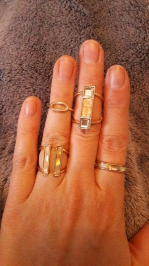 H&M Ringset Ring Ringe Hippie Boho Schimmer Perlmutt Glanz