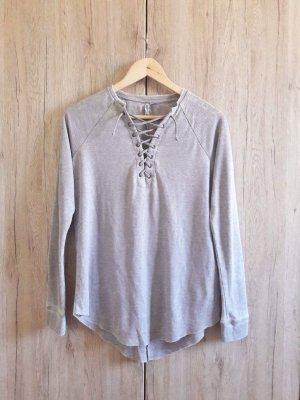 H&M Ripped Shirt Schnürung grau Gr. S