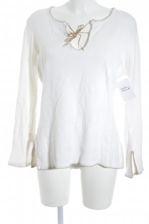 H&M Ribbed Shirt beige-natural white Boho look
