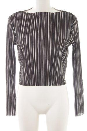 H&M Camisa acanalada negro-blanco estampado a rayas estilo sencillo
