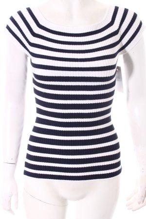 H&M Rippshirt weiß-dunkelblau Streifenmuster klassischer Stil
