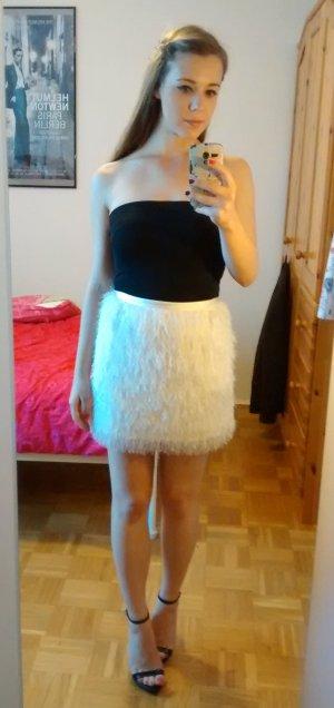 H&M Rock Gr. 34 XS Federn Fransen mini weiß creme schick festlich sexy blogger