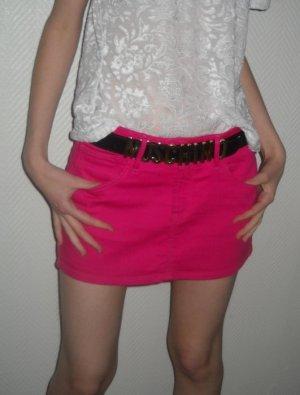H&M Rock Jeansrock kurz Minirock Skirt pink rosa 32 34 36 XS S Bodycon Boho