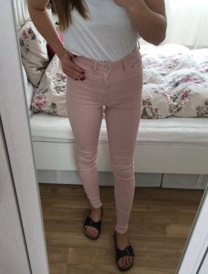 H&M Röhre Skinny Slim Fit Hose Jeans Rosa Rose Nude Denim XS 34 NEU