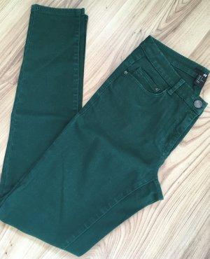 H&M Röhren Jeans XS 34 Dunkelgrün Slim Fit Ankle Skinny Hose Jeggings
