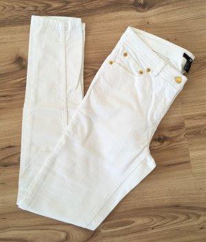 H&M Röhrenjeans XS 34 Weiß Sommer Super Skinny Ankle Jeans Slim Fit Hose Röhrenhose
