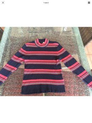 H&M Jersey de cuello alto azul-rojo