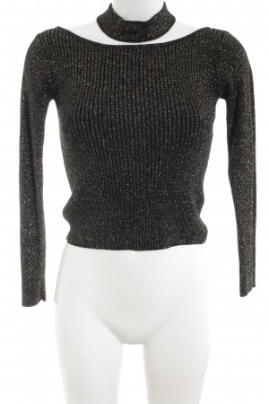 H&M Maglione dolcevita nero puntinato stile casual